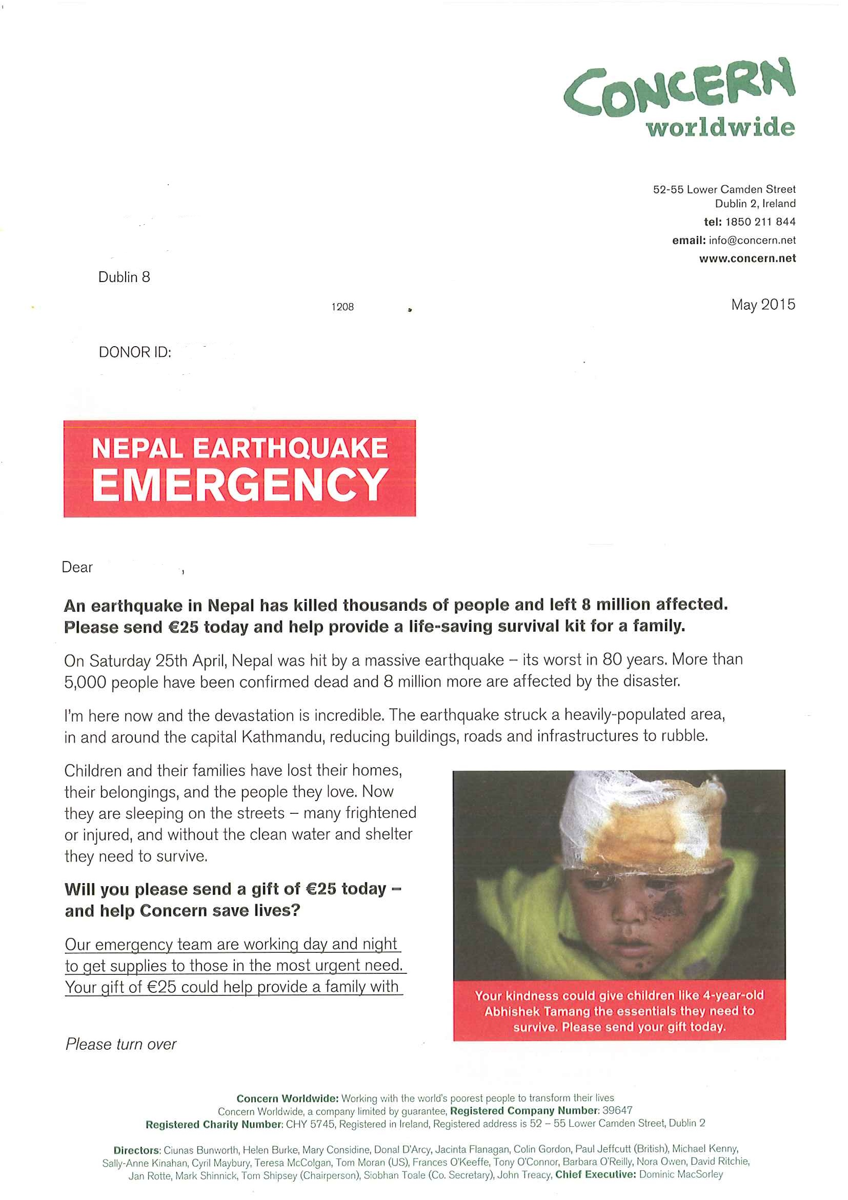 campaign gallery  concern emergency appeal letter for nepal earthquake fund  u2013 digital charity lab