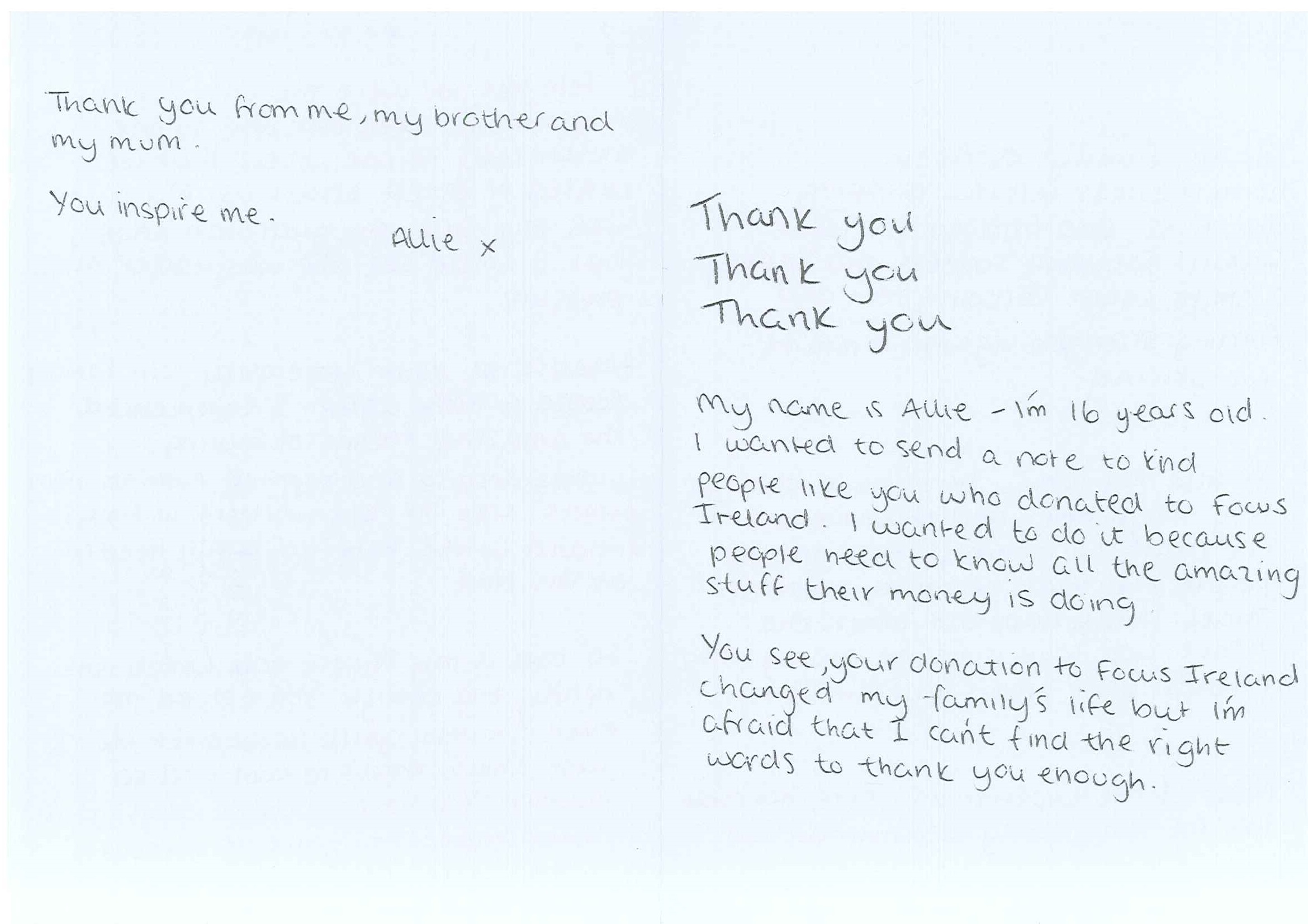 Campaign gallery focus ireland thank you letter and note from allie outside pages of letter from allie to the donor expocarfo