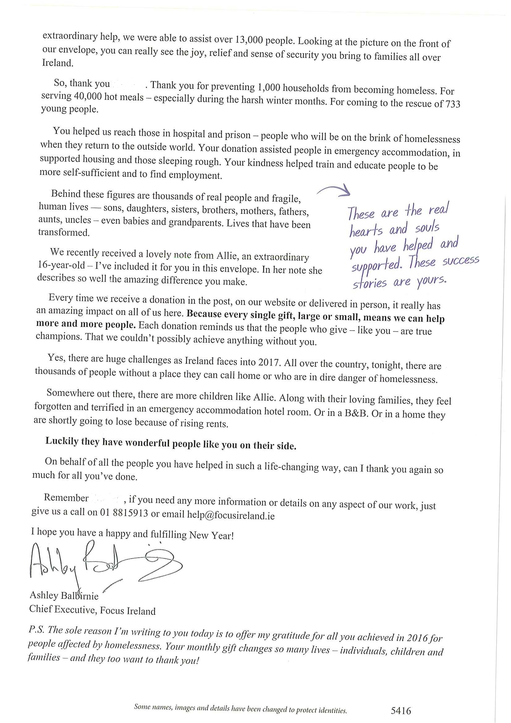 Campaign gallery focus ireland thank you letter and note from allie reverse of thank you letter from focus ireland to regular giver donors firstname repeated twice and deleted expocarfo