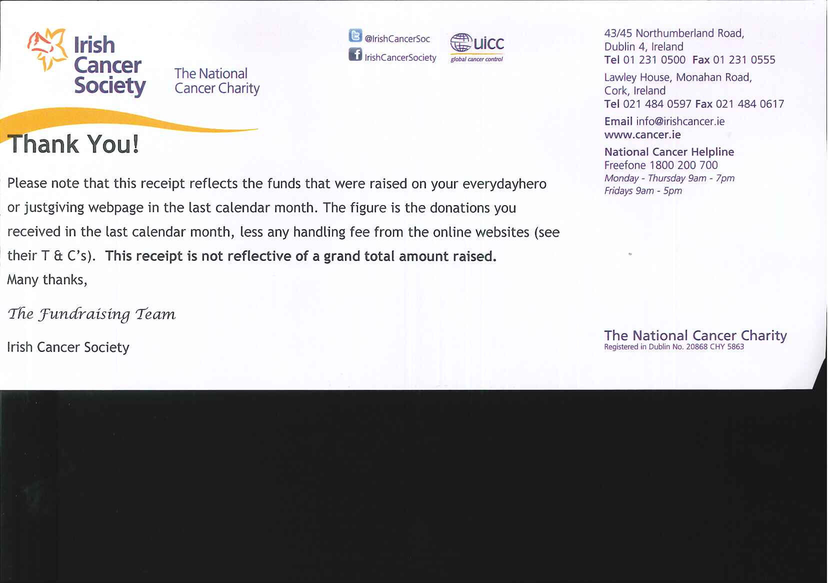 campaign gallery irish cancer society thank you letter and slip